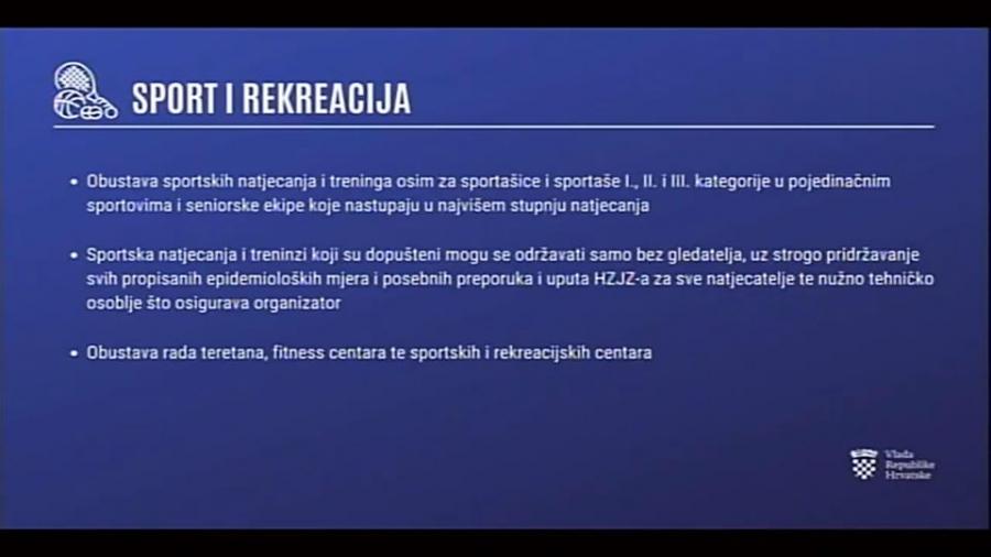 Sportska Hrvatska Prekidaju se sva sportska natjecanja i treninzi osim za vrhunske sportase i seniorske ekipe u najvisem rangu