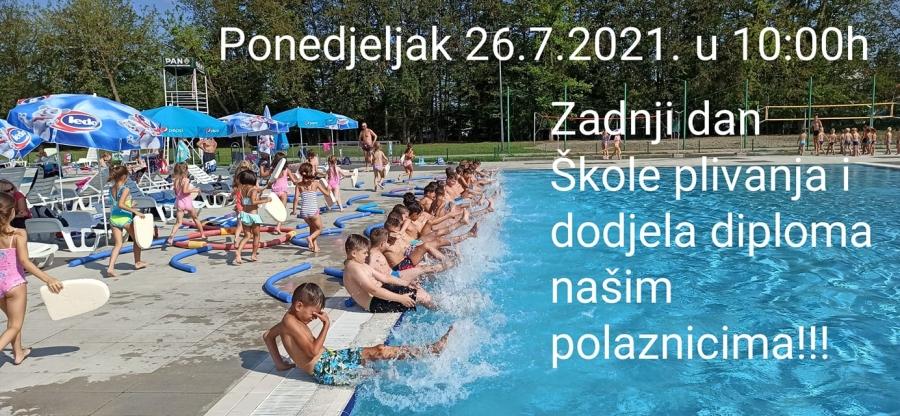 Sportska Hrvatska U subotu, 24. srpnja od 9,00 - 10,30 i 10,30 - 12,00 sati je pretposljednji dan obuke u skoli plivanja