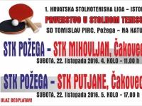 Stolnotenisači Požege u subotu, 22. listopada igraju prve domaće utakmice u 1. Hrvatskoj stolnoteniskoj ligi - Istok