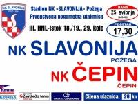 Slavonija u subotu, 25. svibnja s početkom u 17,30 sati dočekuje NK Čepin u 29. kolu 3. HNL - Istok
