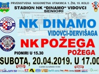 U subotu, 20. 04. u 17,00 sati u Vidovcima se igra gradski derbi 15. kola 1. ŽNL : Dinamo - Požega