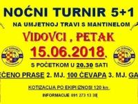 U petak, 15. 06. 2018. u Vidovcima će se održati prvi ljetni noćni malonogometni turnir