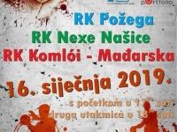 Rukometni spektakl u  srijedu, 16. 01. 2019. u Sportskoj dvorani Tomislav Pirc