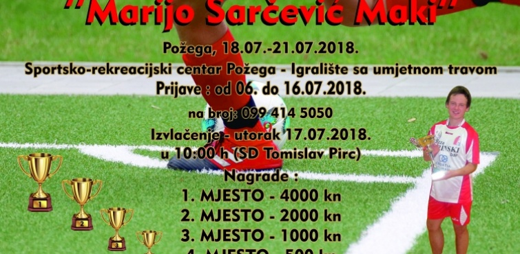 "Prijave za 3. Memorijalni malonogometni turnir ""Marijo Šarčević - Maki"" primaju se do 16. 07. 2018."
