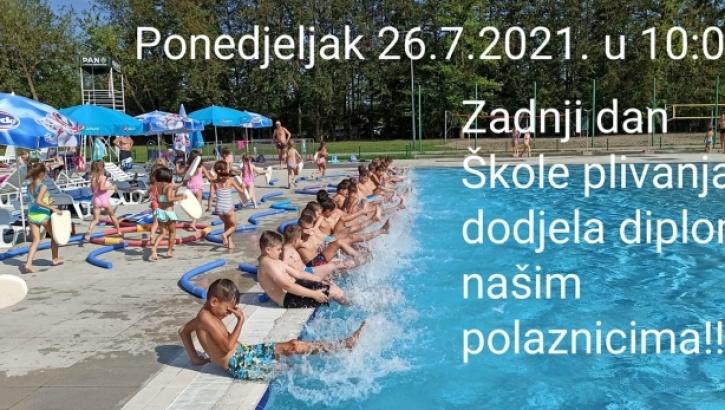 U subotu, 24. srpnja od 9,00 - 10,30 i 10,30 - 12,00 sati je pretposljednji dan obuke u Školi plivanja