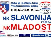 Slavonija u subotu, 20. 04. dočekuje Mladost (Ždralovi) u 23. kolu 3. HNL, a u srijedu, 24. 04. Kutjevo u polufinalu Županijskog kupa