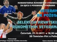 Tiskovna konferencija povodom humanitarne utakmice veterana RK Požega i Selekcije hrvatskih rukometnih veterana održat će se u četvrtak, 14. 12. 2017. u 18,00 sati u SD Tomislav Pirc