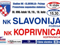 Slavonija u subotu, 16. 03. 2019. s početkom u 15,30 sati dočekuje NK Koprivnicu u 18. kolu 3. HNL - Istok