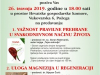 """Požeški športski savez i Obrt za masažu """"Dado"""" u petak, 26. 04. 2019. organiziraju predavanje o pravilnoj prehrani i ulozi magnezija u regeneraciji"""